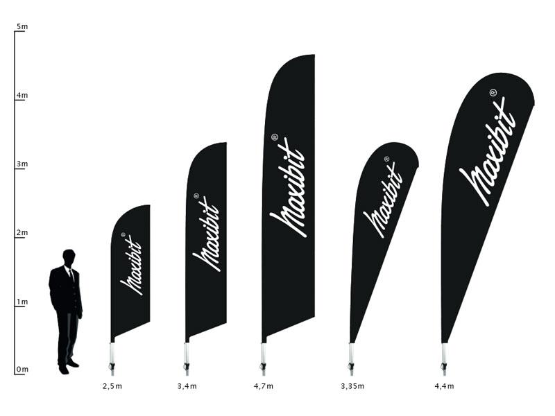 Beachflaggor höjd och form